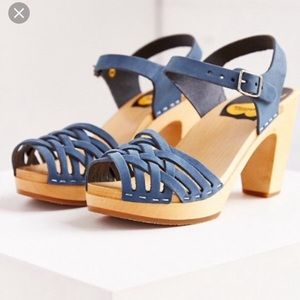 Swedish Hasbeens Leather blue sandals
